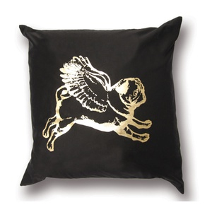 Single Flying Pug Cushion Cover