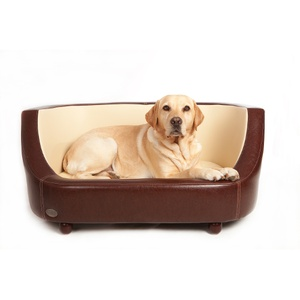 Oxford I Leather Pet Bed - Chestnut Beige