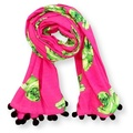 Biddy Pug Scarf - Neon Pink with Green Pugs 2