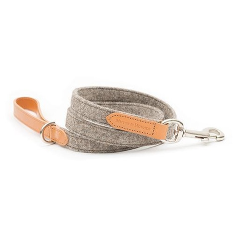Camello Leather and Grey Tweed Dog Lead