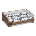 Wooden Vintage Style Pet Bed with Patterned Cushion