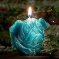 Winged Pug Candle - Turquoise 3