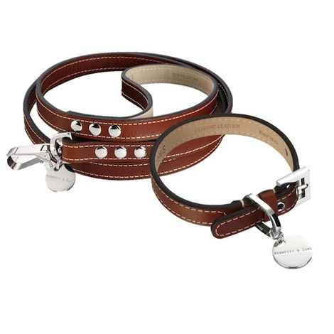 Royal Leather Dog Collar & Lead Set - Red Brown