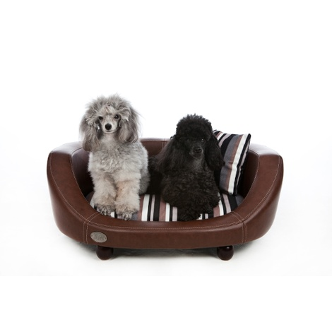 Oxford 2 Leather Pet Bed - Chestnut Beige 2