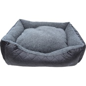 Hem & Boo - Quilted Rectangle Fleece Dog Bed - Grey