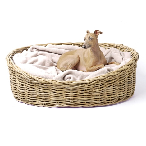 Greywash Oval Rattan Basket