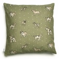 Dogs Linen Cushion - Green