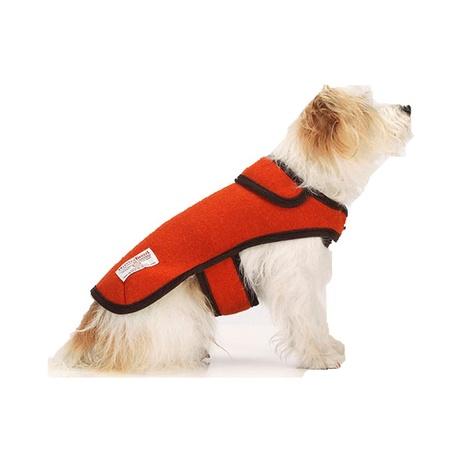 Edison Orange Harris Tweed Dog Coat