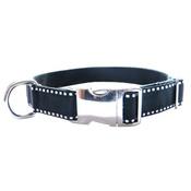 CanineAllStars - Dog Collar - White Saddle Stitch on Black
