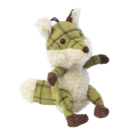 Green Tweed Plush Fox Dog Toy