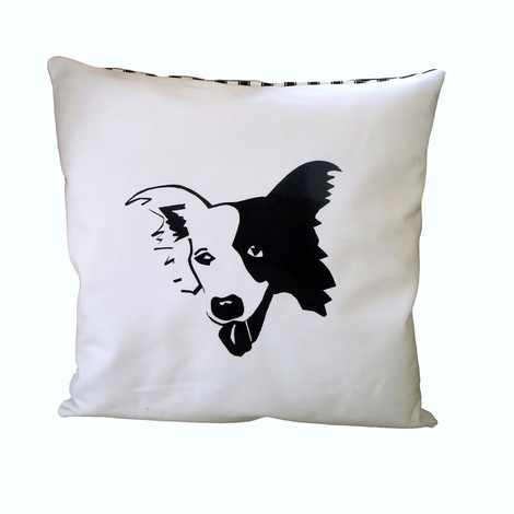 Border Collie Thin Striped Cushion