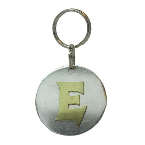 Alphabet Dog ID Tag - Plain brass on plain silver