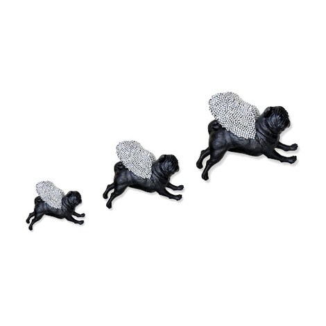 Set of 3 Flying Pugs - Diamanté