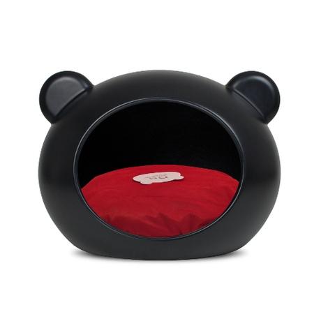 Medium Black Dog Cave with Red Cushion