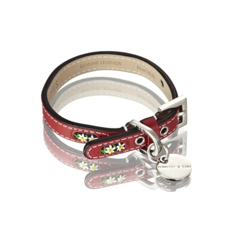 Edelweiss Leather Dog Collar – Swiss Red