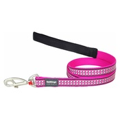 Red Dingo - Bones Reflective Dog Lead - Hot Pink