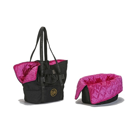 Sommeil et Voyage Dog Carrier Bag – Jet Black & Pink D 2