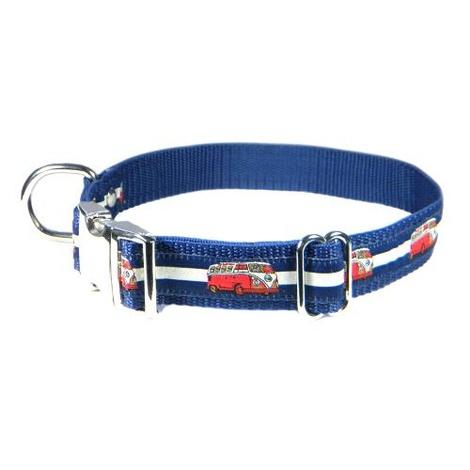 Red VW Camper Van Dog Collar – Navy & White Stripes 2