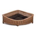 Luxury Wicker Dog Corner Basket with Dark Cushion