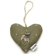 Mutts & Hounds - Dogs Linen Lavender Heart Green - French Bulldog