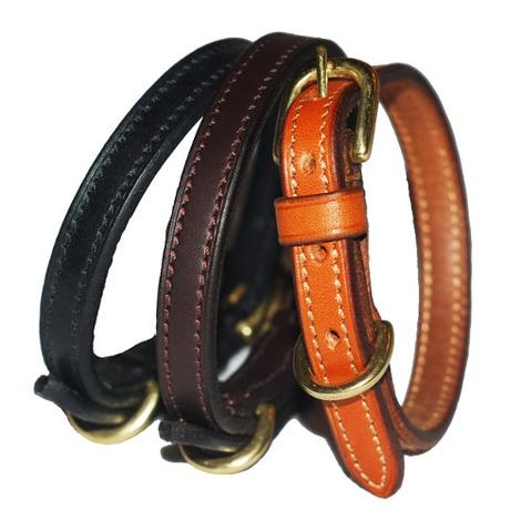 Flat Leather Dog Collar - Chocolate Brown 2