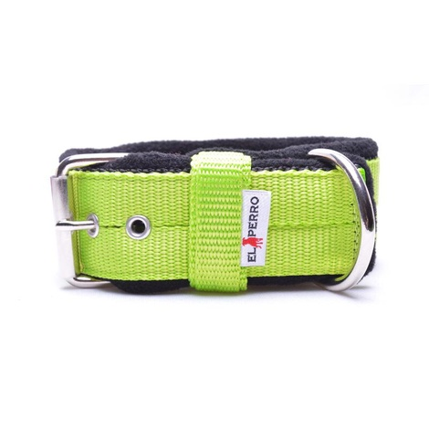 4cm Width Fleece Comfort Dog Collar – Neon Green