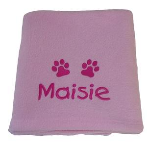 Personalised Fleece Puppy Blanket - Pale Pink