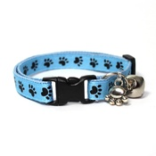 Mog's Togs - Blue Pawprints Safety Cat Collar