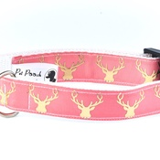 Pet Pooch Boutique - Country Stag On Blush Coral Collar