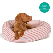 Mutts & Hounds - Cranberry Ticking Donut Bed