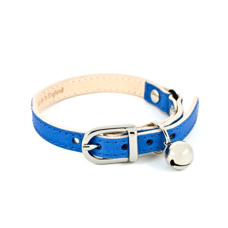 Blue Leather Cat Collar