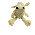 Plush Curly Lamb Puppy Squeaky Toy - Cream