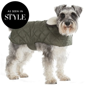 Olive Quilted Waterproof Dog Coat