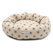 Mutts & Hounds - Navy Star Linen Donut Dog Bed