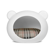GuisaPet - Medium White Dog Cave with Tartan Cushion