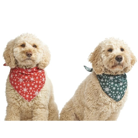 Mini Snowflake Dog Bandana – Green 3