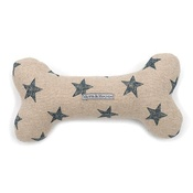 Mutts & Hounds - Navy Star Linen Squeaky Bone Toy