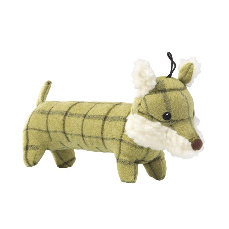 Green Tweed Long Fox Dog Toy