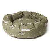 Mutts & Hounds - Dogs Linen Donut Bed - Green