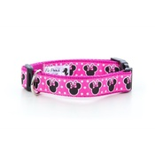 "Pet Pooch Boutique - Minnie Mouse Pink Dog Collar 1"" Width"