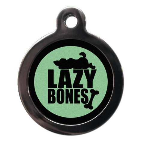 Green Lazy Bones Pet ID Tag