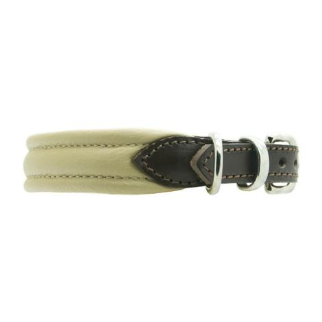 Plain Ribbed Leather Dog Collar - Cream