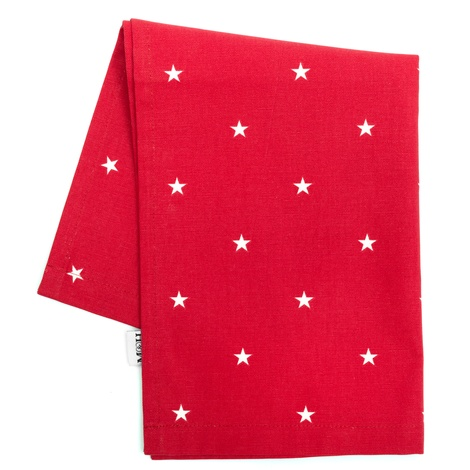 Cranberry Star Cotton Tea Towel