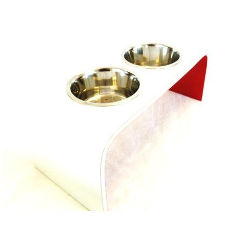 White & Red Raised Dog Bowl Holder