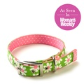 Green daisy on Pink Polka Collar 2