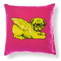 Biddy Pug Cushion Cover - Neon Pink with Green Pug