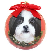 NFP - Black & White Shih Tzu Puppy Christmas Bauble