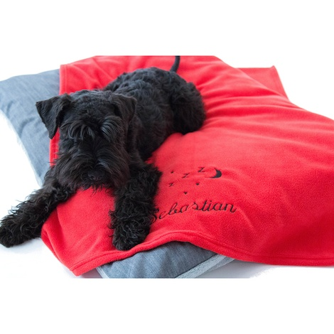 Personalised Red Snooze Pet Blanket - Italic font
