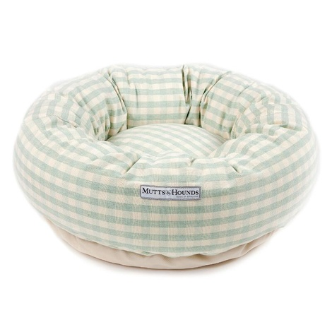 Mint Check Cotton Donut Bed 2