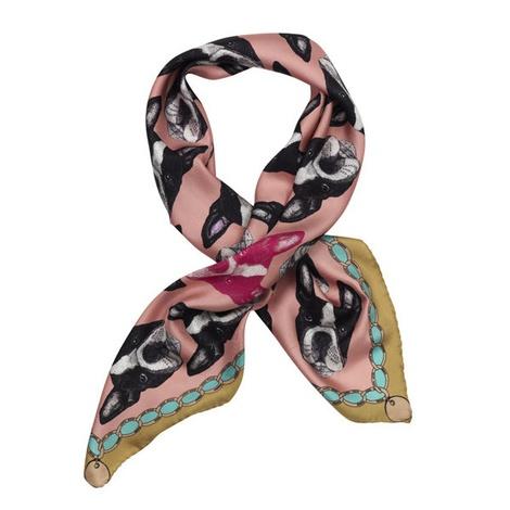 Boston Terrier Print Silk Scarf - Pink & Rich Olive
